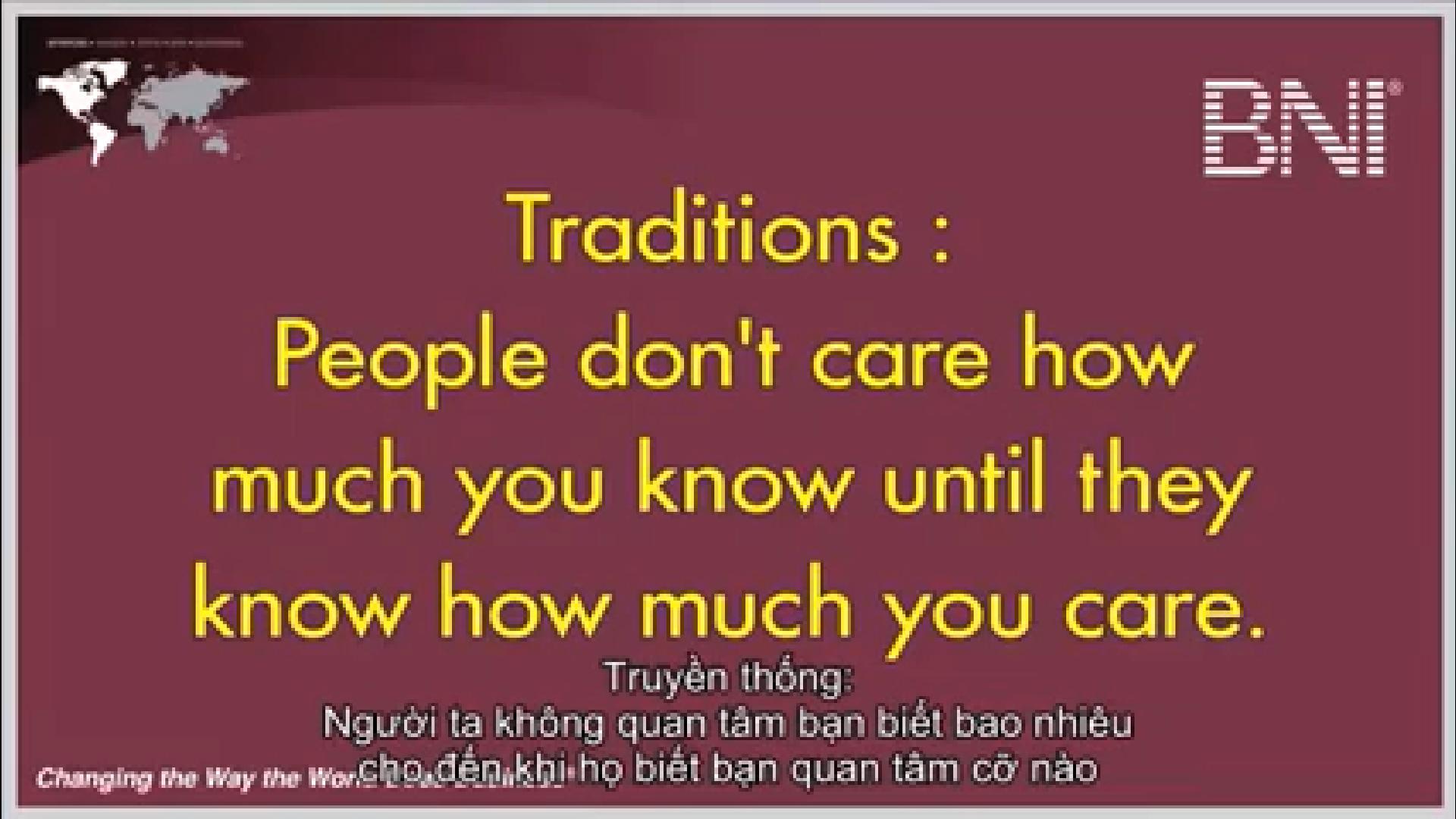 Truyền thống 5 BNI Người ta không quan tâm bạn biết bao nhiêu đến khi họ biết bạn quan tâm cỡ nào